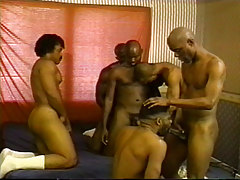 Now this is what a real thug orgy is all about - big black men - nasty attitudes and a hunger for hardcore, group sex! Things might start off all light hearted, but it dont take long till these freakishly hung black dudes are on their knees and sucking dick. In true orgy fashion, the bros go for anything and anything as they suck with abandon and fuck face and ass as if their lives depended on it.
